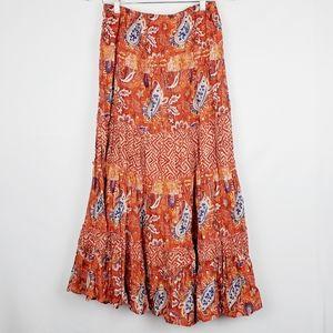 Style & Co Red/Orange Print Maxi Skirt M